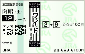 20140719函館12R馬券