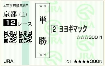 20151024京都12Rヨヨギマック単勝